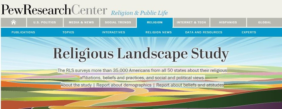 Pew Survey of the major religions including their denominations in America